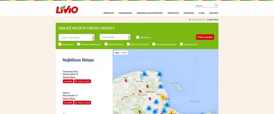 Livio sklepy - mapa