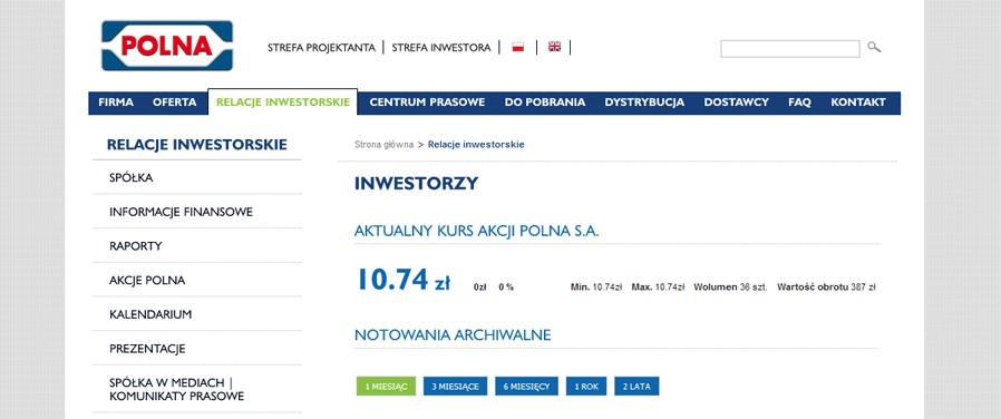 Polna SA - relacje inwestorskie
