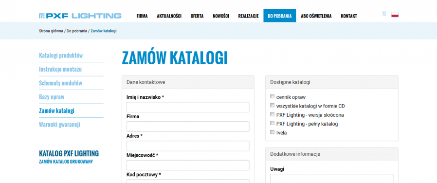 PXF Lighting - Zamów katalogi